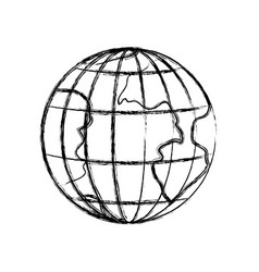 monochrome blurred silhouette of earth globe with vector image vector image