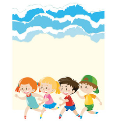 Paper design with children running around vector