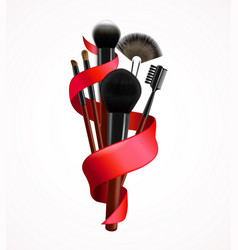 Realistic make up brushes composition vector