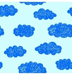 Seamless hand drawn doodle cloud pattern vector