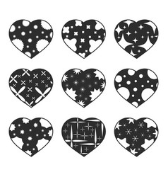 set of black isolated hearts on a white vector image vector image