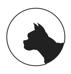 Silhouette of a dog head french bulldog vector image