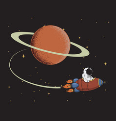 spaceman come back after mission to saturn vector image vector image