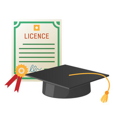 Square academic hat with tassel and licence vector