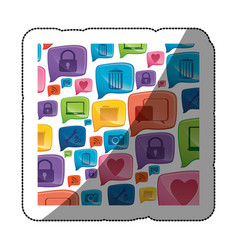 Sticker colorful pattern formed by dialogue social vector