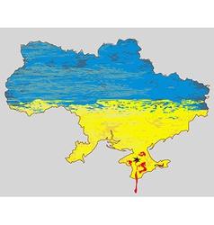 Ukraine map blood in Crimea vector image