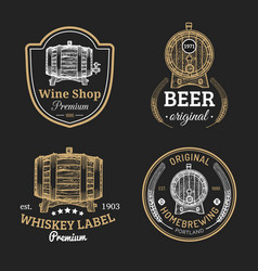 Wooden barrels collection for alcohol drinks icons vector