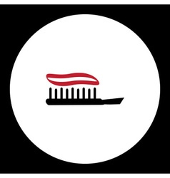Black isolated toothbrush with red toothpaste vector