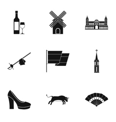 Holiday in spain icons set simple style vector