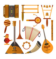 Set of russian folk music instruments in vector