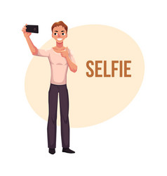 man making selfie with smartphone mobile phone vector image