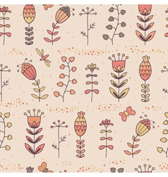 Floral seamless pattern in cartoon style vector