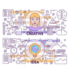 Set of modern thin line creative idea vector