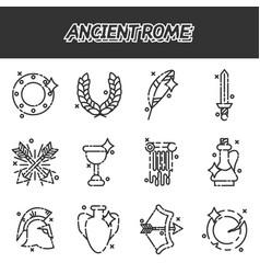 Ancient rome cartoon icons set vector