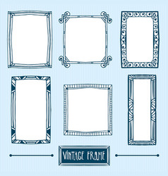 set of hand drawn vintage frames vector image