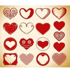 Set of trendy vintage heart signs on grungy paper vector