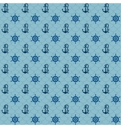 Seamless patterns navy anchors and steering wheel vector
