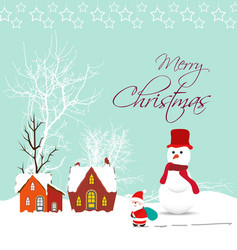 Merry christmas card with santa claus snowman and vector