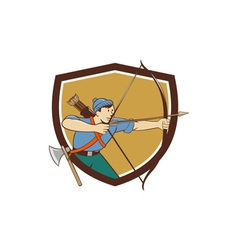 Archer aiming long bow arrow cartoon crest vector