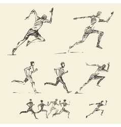 Set drawn running man healthy sketch vector