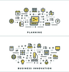 Planning and business innovation flat thin line vector