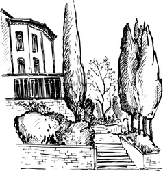Urban sketch house in the park vector