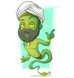 Cartoon old green jinn with beard vector