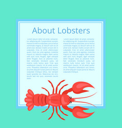 About lobsters on azure color vector