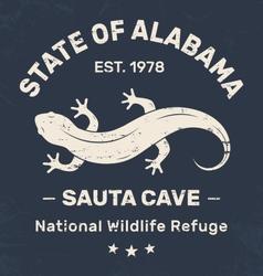 alabama t shirt with salamander vector image vector image