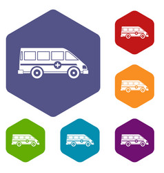 Ambulance emergency van icons set hexagon vector