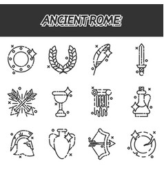 Ancient rome cartoon icons set vector