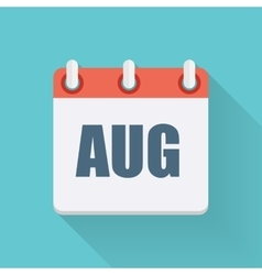 August Dates Flat Icon with Long Shadow vector image