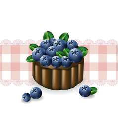 blueberry cake on a vintage pattern vector image vector image