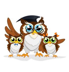 Cheerful school owl vector