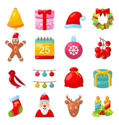 Christmas Colorful Traditional Symbols Simple vector image