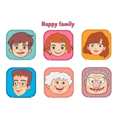 Cute happy family members faces vector