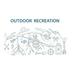 Doodle style design concept of outdoor recreation vector