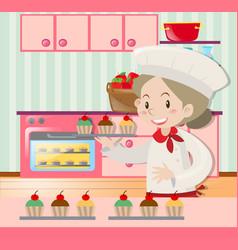 female baker baking in kitchen vector image