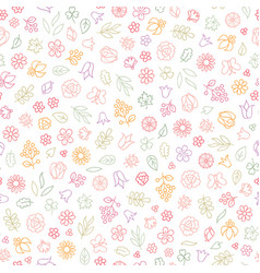 Flower icon seamless pattern floral leaves vector