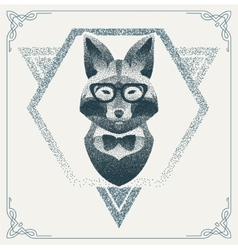 Halftone hipster fox with black dots vector
