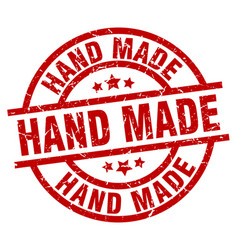 Hand made round red grunge stamp vector