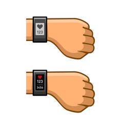 hands with fitness tracker set pulse monitor vector image