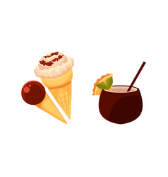 Ice cream cones cocktail drink in coconut shell vector
