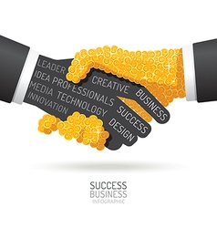 Infographic business coins handshake shape vector