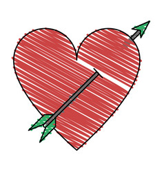 isolated heart and arrow design vector image