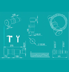 machine-building drawings on a turquoise vector image vector image
