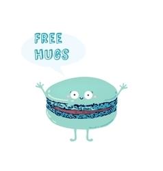 Postcard with cute macaroon inscription free hugs vector