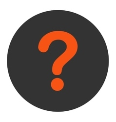Question flat orange and gray colors round button vector