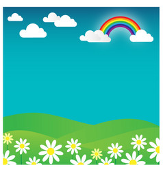 Rainbow landscape with flowers and cloud vector