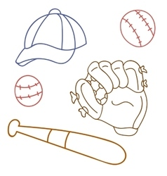 Set for baseball glove cap bat game sport vector